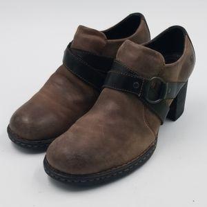 BORN Burnished Toe Leather Heeled Ankle Boot